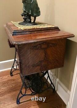 Antique Singer Gold Roses Machine À Coudre Modèle 27 28 Cabinet (vintage 1895) Nice