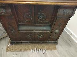 Antique Singer Machine À Coudre 1900's En Tiger Oak Cabinet Fermé Avec Treadle