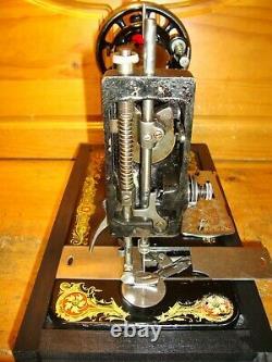 Antique Singer Machine À Coudre Modèle 128' La Vencedora', Manivelle De Main, Desservi