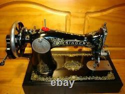 Antique Singer Machine À Coudre Modèle 15' Pain D'épices', Hand Crane, Serviced