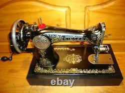 Antique Singer Machine À Coudre Modèle 15'gingerbread', Manivelle De Main, Desservi