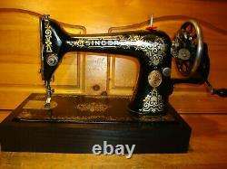 Antique Singer Machine À Coudre Modèle 66' Pain D'épices', Hand Crane, Serviced