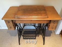 Antique Singer Machine À Coudre Modèle 66 Vintage Mfg. 1919 Tiger Oak Cabinet