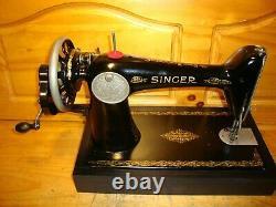 Antique Singer Machine À Coudre Modèle 66k, Crane À Main, Cuir, Serviced