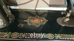 Antique Singer Red Eye No 66 Treadle Sewing Machine Cabinet D'origine