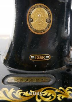 Antique Singer Sewing Machine 128k Em 536272 Boîtier En Bois Plié (ecosse)
