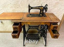 Antique Singer Treadle Machine À Coudre Dans 4 Tiroirs Cabinet-début 1900's