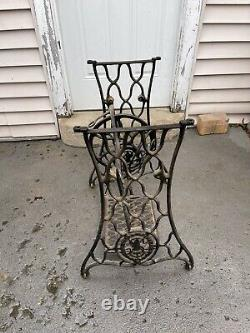 Antique Singer Treadle Sewing Machine Cast Iron Base Stand Table Shabby Chic