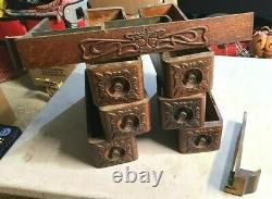 Antique Singer Treadle Sewing Machine Tiroirs En Bois 7 Boîtes Ornées Nice & Cadre