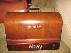 Antique Vintage 1929 Singer Coudre Machine À Coudre Withcase En État De Fonctionnement