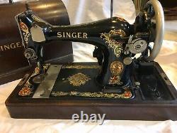 Antique Vintage Ornement Chanteur Noir Machine À Coudre Light Motor Hotte En Bois