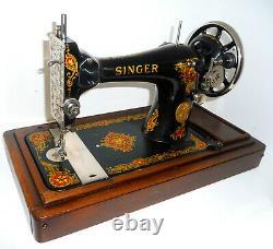 Antique Vintage Singer 128k Machine À Coudre La Vencedora Stand En Bois Rare