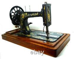 Antique Vintage Singer 48k Roue Noire Machine À Coudre À La Main Manivelle Originale Rare