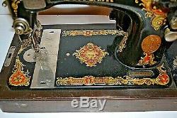 Antique (rare Pochoirs) Machines À Coudre Singer Avec Étui, Clé A Must See Withextras