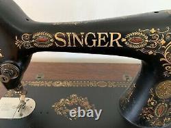 Antique1910 Singer Machine À Coudre Avec Accès Et 6 Tiroirs Treadle Cabinet