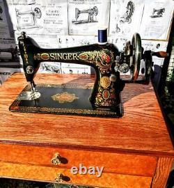 Astounding Antique Singer Modèle 66 Red Eye Machine À Coudre, Atchm Pince Arrière, 1915