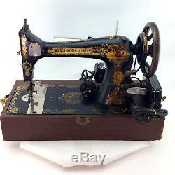 Chanteur Antique Machine À Coudre Modèle 27 Sphinx Décalcomanies Électrique Vintage 1906 Cas