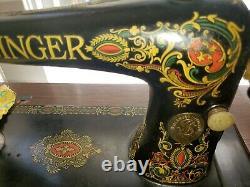 Chanteur Antique Treadle Red Eye Machine À Coudre Et Cabinet Série # G8016395