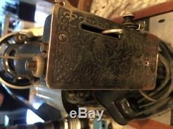 Chanteur Machine À Coudre B. T. 7 Vintage Carry Le Moteur D'entraînement En Bois Runs Cas Withkey