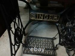 Début Singer Treadle Machine À Coudre Fonte Cabinet 1900 Fer 7 Tiroirs