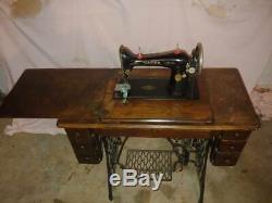 Modèle Antique 66 Cabinet Chanteur Treadle Machine À Coudre Table En Fonte De Base