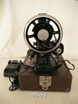 Rare Antique 1889 Singer Model 27 Machine À Coudre Fiddle Base Elect Motor & Case
