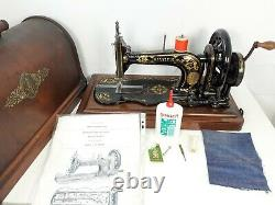 Rare Antique Singer 12k Fiddlebase Machine À Coudre, Full Service & Sews Parfaitement