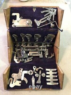 Rare Antique Singer Machine À Coudre Puzzle Box Pliant Avec Acc. Fév 1889 Brevet