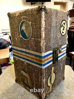 Rare Antique Vintage Singer 20 Jouet Small Child Couture Machine W Trunk Case Gift