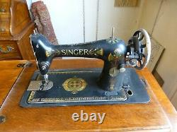 Rare Singer Singer Machine À Coudre Avec Armoire En Relief, Meubles Antiques 1912