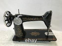 Serviced Antique Singer Machine À Coudre Red Eye Ornate Treadle Head 66 Heavy Duty