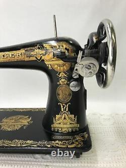 Serviced Antique Singer Machine À Coudre Sphinx Ornate Treadle Head 127 Heavy Duty