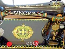 Singer 66k 1917 Machine À Coudre Main Crane Lotus Flower Vintage Antique Collectab