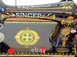 Singer 66k 1917 Machine À Coudre Main Crane Lotus Flower Vintage Antique Collectib