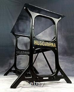 Singer Husquarna Stand Restaured Frame Treadle Machine À Coudre Bureau Base Antique