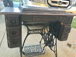Singer Sewing Machine Début Des Années 1900 27-4 Tiger Oak Cabinet Bande De Roulement Instru Attacher