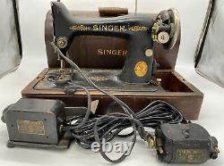 Vieux Catalogue De Machines À Coudre D'antique Singer Bt7 Avec Boîtier Et Pédale Etc Non Testé