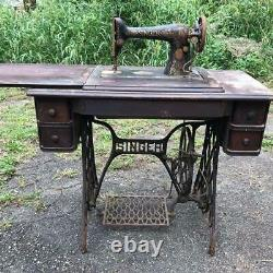 Vintage Antique Singer Red Eye Treadle Sewing Machine Table Cabinet Cast Iron