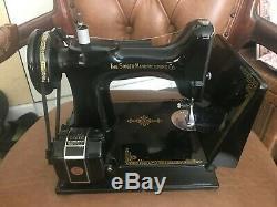 Vintage Chanteur Portable Électrique Machine À Coudre Antique Poids Plume 221-1