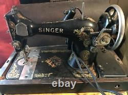 Working 1922 Singer Model 128 Electric Sewing Machine W Pedal Case Black